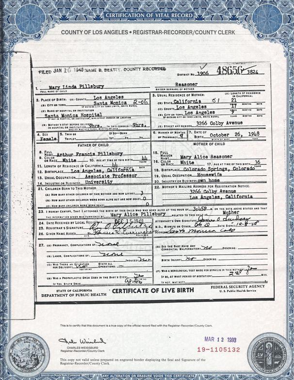 Melinda Birth Certificate
